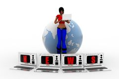 3d women globe laptop news illustration Stock Photos