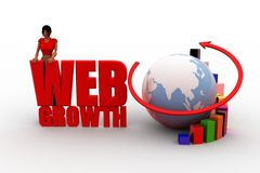 3d women globe web growth Royalty Free Stock Images