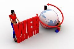 3d women globe web growth Stock Photo
