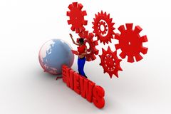 3d women globe web growth Royalty Free Stock Photo