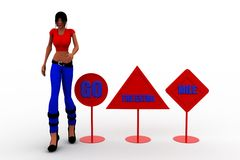 3d women with  Go the Extra Mile  concept Stock Images
