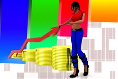 3d women gold Coin and arrow statics illustration Royalty Free Stock Images