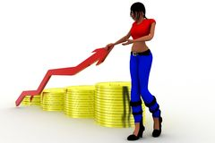 3d women gold Coin and arrow statics Royalty Free Stock Images