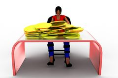 3d Women And Gold Coin In Table Royalty Free Stock Photo