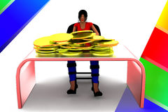 3d Women And Gold Coin In Table Illustration Royalty Free Stock Photography