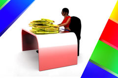 3d Women And Gold Coin In Table Illustration Royalty Free Stock Image
