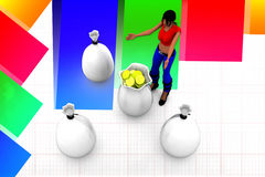 3d women gold coins bag illustration Royalty Free Stock Images