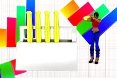 3D women golden pen inside box illustration Stock Image