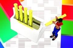 3D women golden pen inside box illustration Royalty Free Stock Photo
