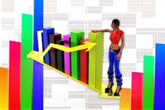3d women  graph and arrow statics illustration Stock Photo