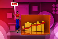 3d Women  graph and its statics check illustration Stock Image