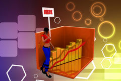 3d Women  graph and its statics check illustration Stock Photography