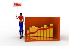 3d Women  graph and its statics check Stock Photos