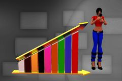 3d Women  graph and its statics illustration Stock Photography