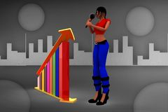3d Women  graph and its statics illustration Royalty Free Stock Image