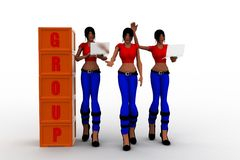 3d women group concept Royalty Free Stock Photo