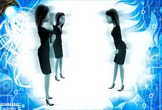 3d women group discuss on important topic illustration Stock Images