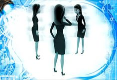 3d women group discuss on important topic illustration Stock Photos
