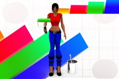 3d women hand holding paint brush and can illustration Royalty Free Stock Photo