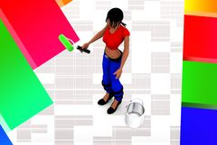 3d women hand holding paint brush and can illustration Royalty Free Stock Image