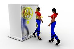3d Women And Hand over key of Money Locker Stock Images