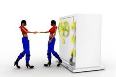 3d Women And Hand over key of Money Locker Royalty Free Stock Photo