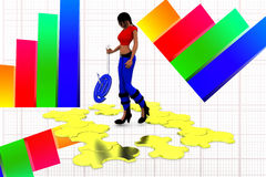 3d women hand overing puzzle illustration Royalty Free Stock Photo
