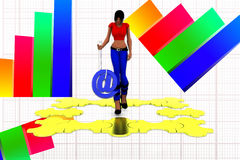 3d women hand overing puzzle illustration Royalty Free Stock Images