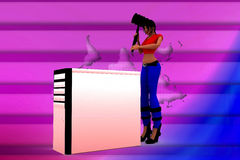 3d women hitting cpu lack of performance Royalty Free Stock Images