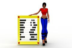 3d women holding abacus illustration Stock Photography