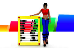 3d women holding abacus illustration Royalty Free Stock Images