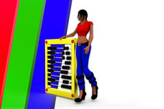3d women holding abacus illustration Royalty Free Stock Photography