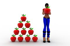 3d women holding apple Stock Photo