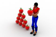 3d women holding apple Royalty Free Stock Images
