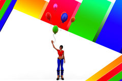 3d women holding balloons Stock Photography