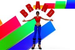 3d Women Holding Brand Name illustration Stock Photo