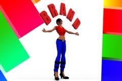 3d Women Holding Brand Name illustration Royalty Free Stock Photos