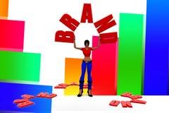 3d Women Holding Brand Name Illustration Stock Photography