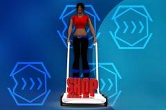 3d women holding  cart - Shop Text illustration Stock Image