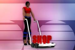 3d women holding  cart - Shop Text illustration Stock Photo