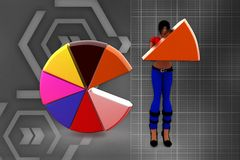 3d Women holding a colorful pie chart illustration Royalty Free Stock Image
