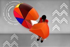 3d Women holding a colorful pie chart illustration Royalty Free Stock Photography