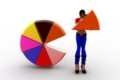 3d Women holding a colorful pie chart Stock Photos