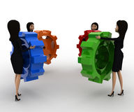 3d women holding colourful gear cogwheel concept Stock Image