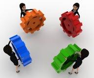 3d women holding colourful gear cogwheel concept Stock Images