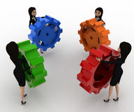 3d women holding colourful gear cogwheel concept Royalty Free Stock Images