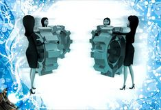 3d women holding colourful gear cogwheel illustration Stock Image