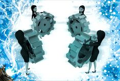 3d women holding colourful gear cogwheel illustration Stock Photo