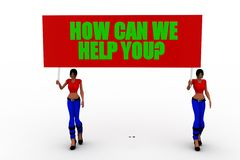 3d women holding how can we help you banner Royalty Free Stock Image