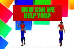 3d women holding how can we help you banner illustration Stock Images